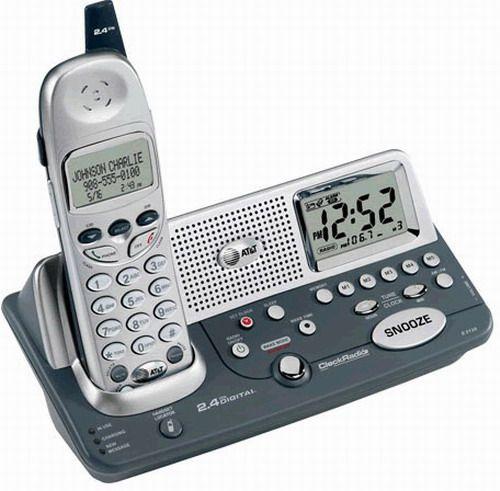 at te2120 cordless telephone 2 4 ghz with alarm clock radio att e2120 atte2120 att e2120. Black Bedroom Furniture Sets. Home Design Ideas